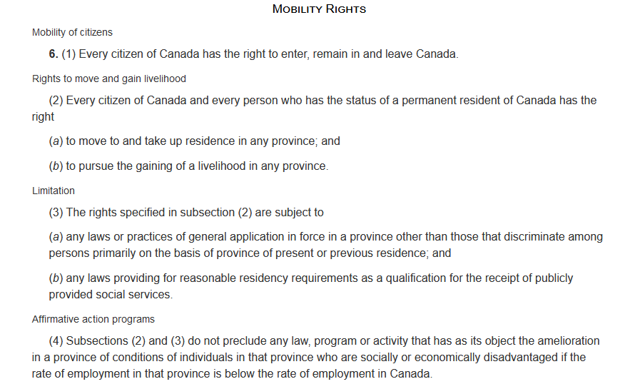 Mobility Rights CANADIAN CHARTER OF RIGHTS AND FREEDOMS